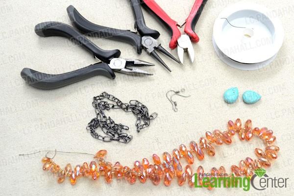 Supplies needed in the DIY vintage earrings