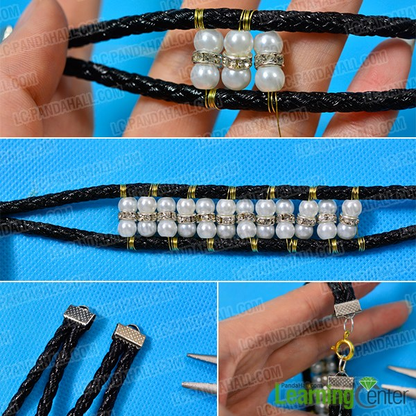 Finish the black cord bracelet with pearl and rhinestone beads