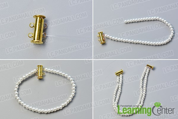 Step 1: Make the basic part of this pearl bead bracelet