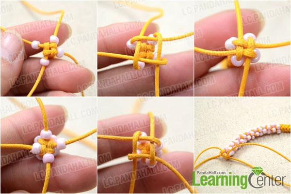 Add the 4mm round seed beads among the knots