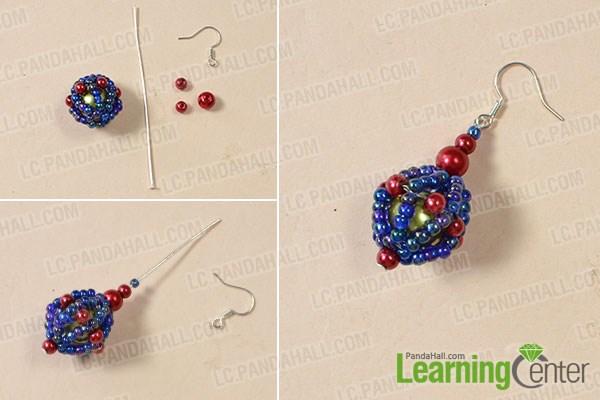 Finish the beaded ball drop earrings