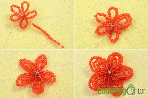 Make basic red flower hair accessories