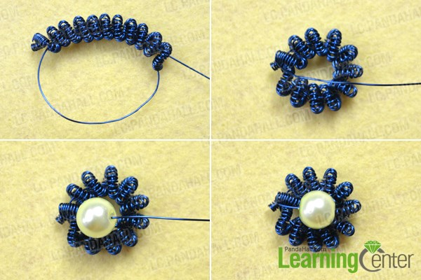 Make the flowers for the coiled wire bracelet