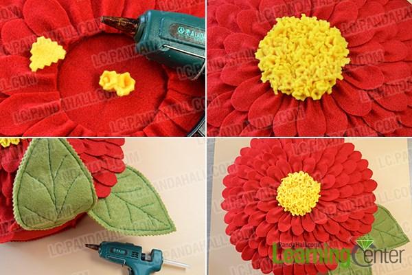 Step 6: Finish the felt flower pillow