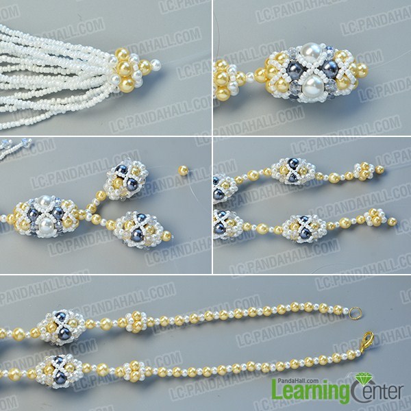 make the eighth part of the pearl bead ball necklace with tassel pendant