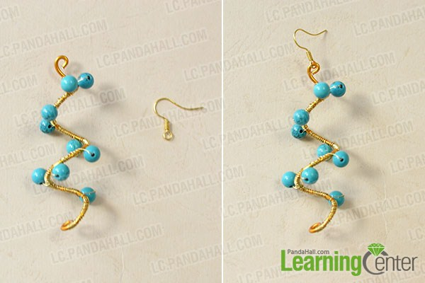 add turquoise beads and earring hooks
