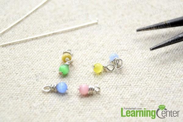 Make the round cat eye bead dangles