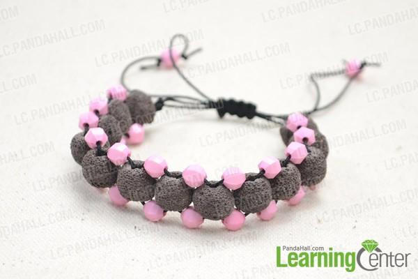 The final lava bead bracelet looks like