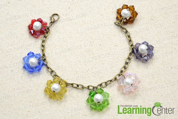 add on the rest 6 beaded flower charm