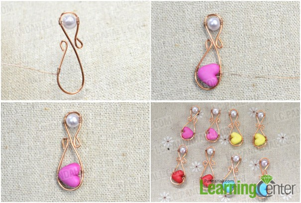 fix heart bead onto wire wrapped embellishment