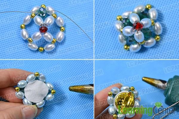Finish the beaded flower ring