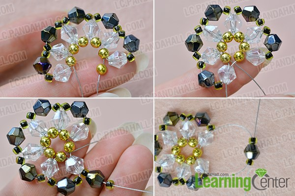 Finish the beaded flower pattern