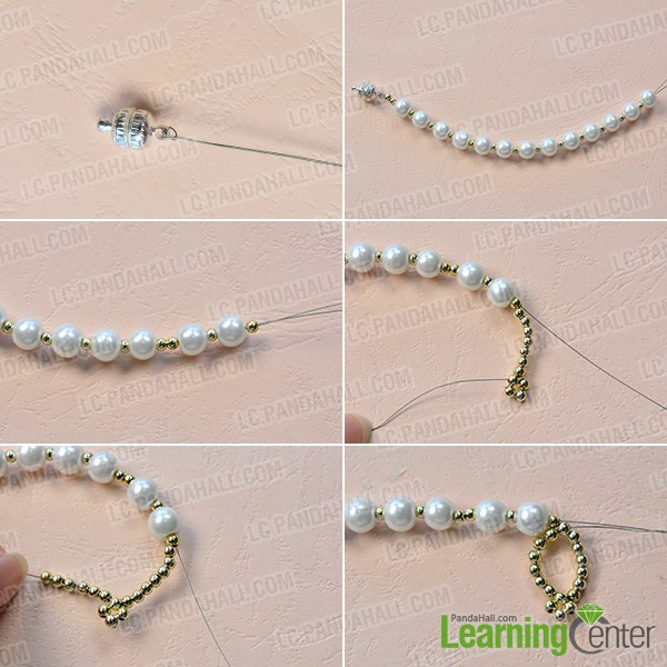 make the first part of the homemade white pearl bead necklace
