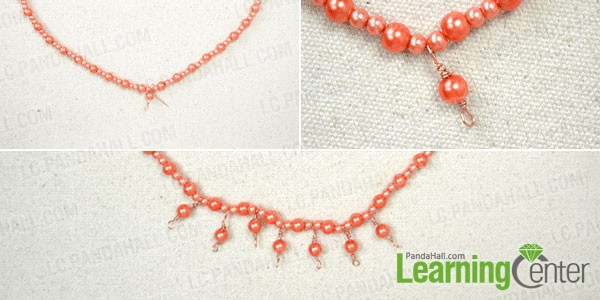 make the beaded fringe for the necklace