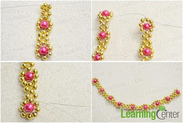 Step 2: Weave flower pattern necklace