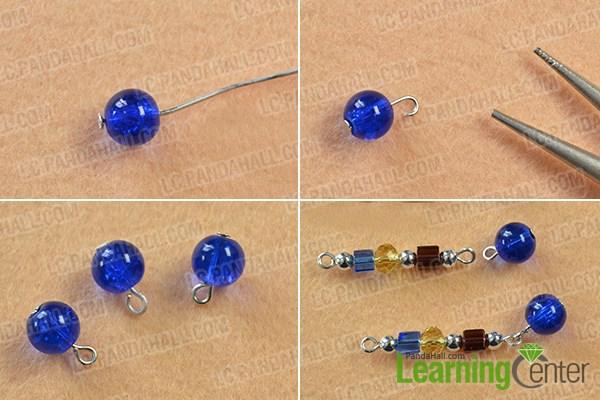 Make several blue crackle glass bead patterns