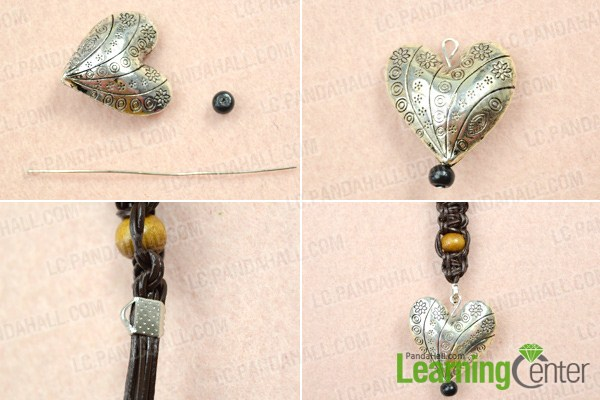 finish making braided leather necklace for men