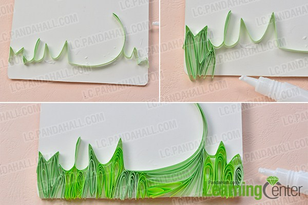 How to make a handmade quilling paper tree greeting card at home make the bottom part of the quilling paper tree greeting card m4hsunfo
