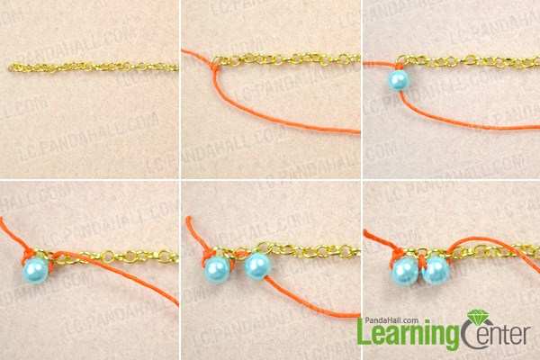 Make the first woven pearl chain for necklace