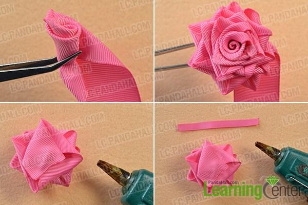 finish the ribbon rose making