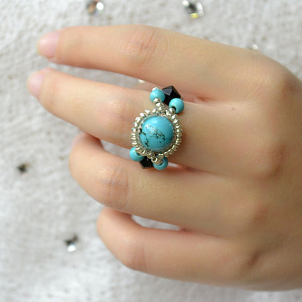 the final look of the handmade turquoise rings