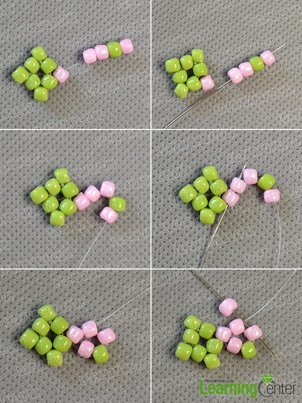 Start to make a pink seed bead pattern
