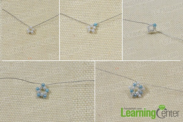 combine seed beads into a star-shape pattern