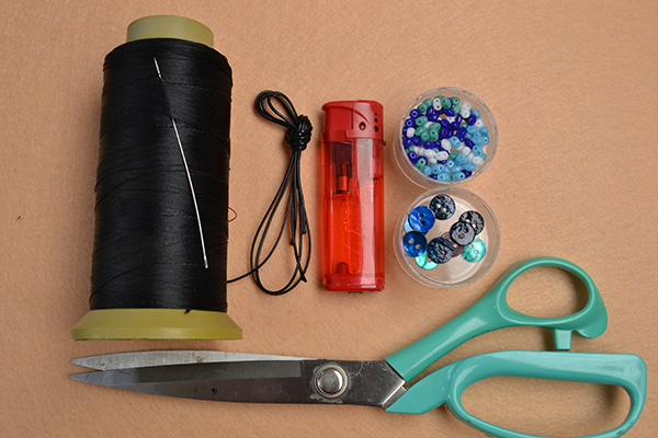 Materials and tools you'll need in making the leather cord bracelet with beads