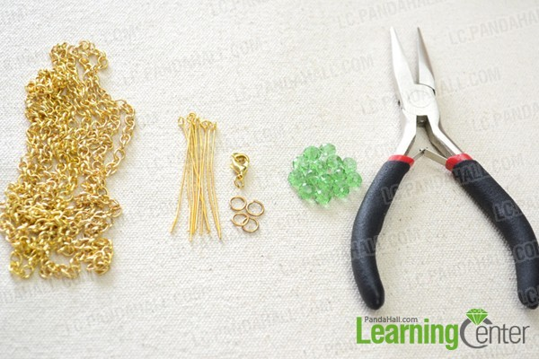 materials for long bead and chain jewelry