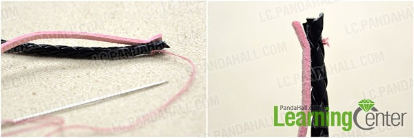sew one end of black leather cord and pink suede cord