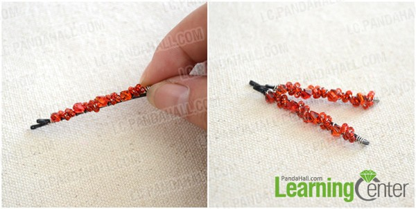 finish the beaded bobby pins