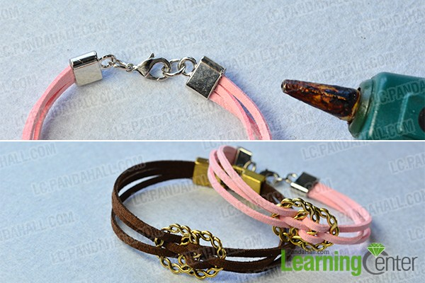 make the rest part of the pink suede cord bracelet