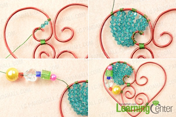 Attach beads to wire wrapped heart pendant