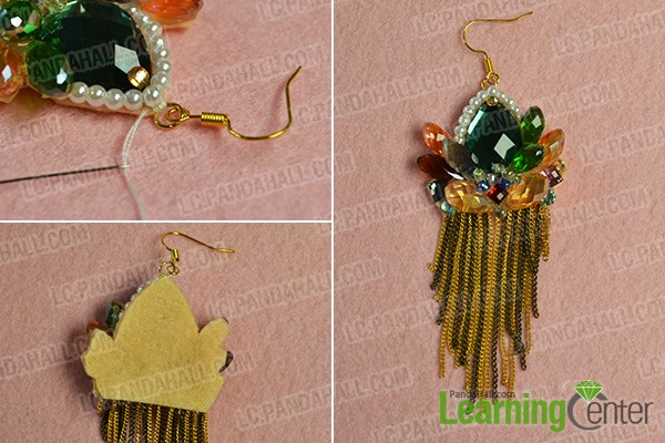 Finish the crystal beaded earrings