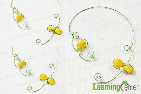 Wrap some pearl beads into the small loops of the jewelry wire.