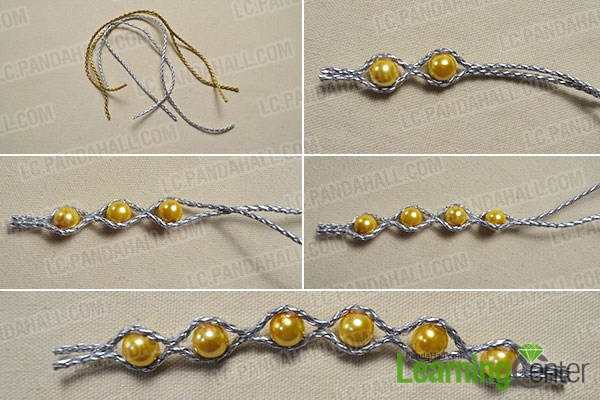 combine pearl beads and silver PU leather cords together