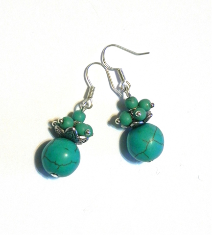 turquoise bead earrings finished!
