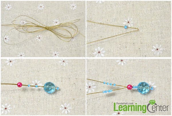 cut wire preparing for beading flower bracelet