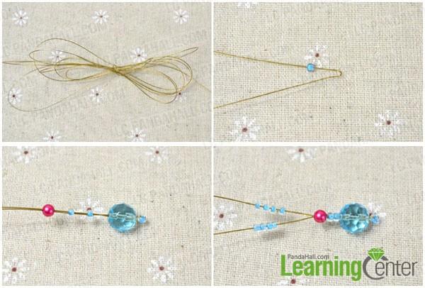 cut wire preparing for beading flower bracelet