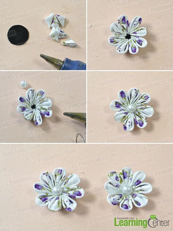 make two purple ribbon flowers