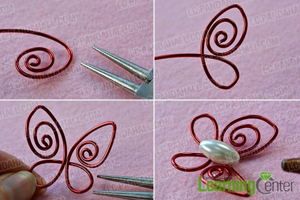 make the first part of the red wire wrapped butterfly ring