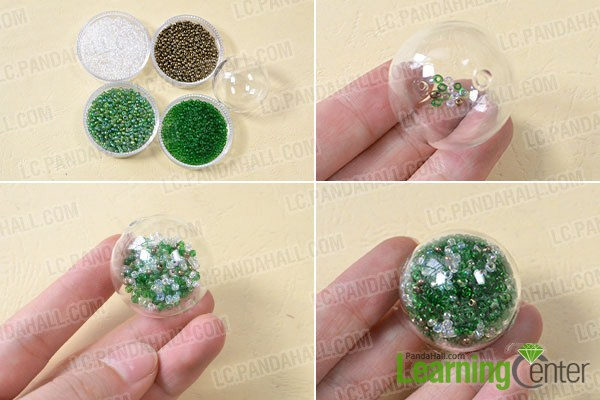 make the first part of the easy green glass globe bead ring