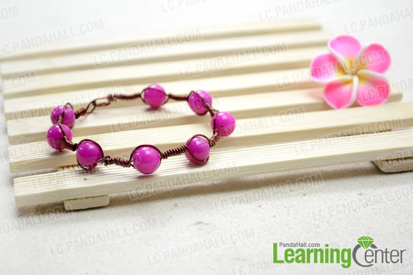 finished wire bracelet with beads