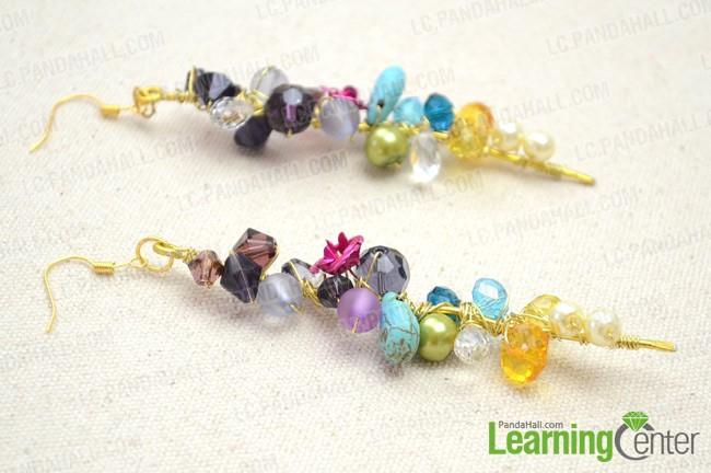 The final look of beaded cluster earrings