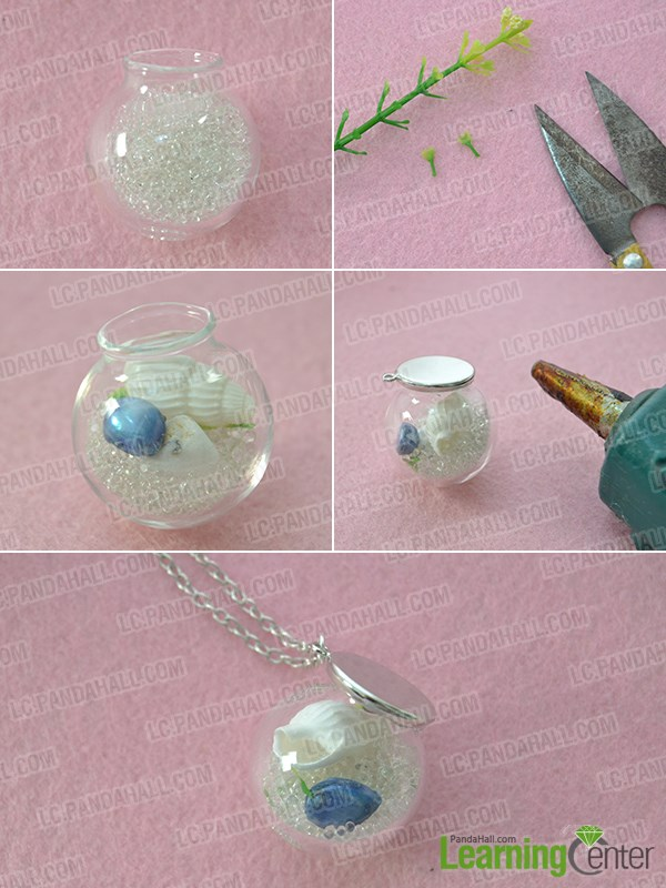 Make a crystal ball pendant necklace quickly