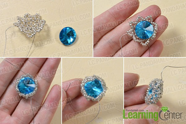 Wrap up the blue rhinestone bead