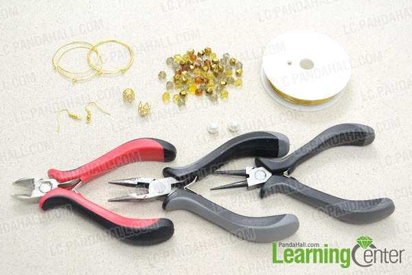 Supplies needed for making these dangle hoop earrings