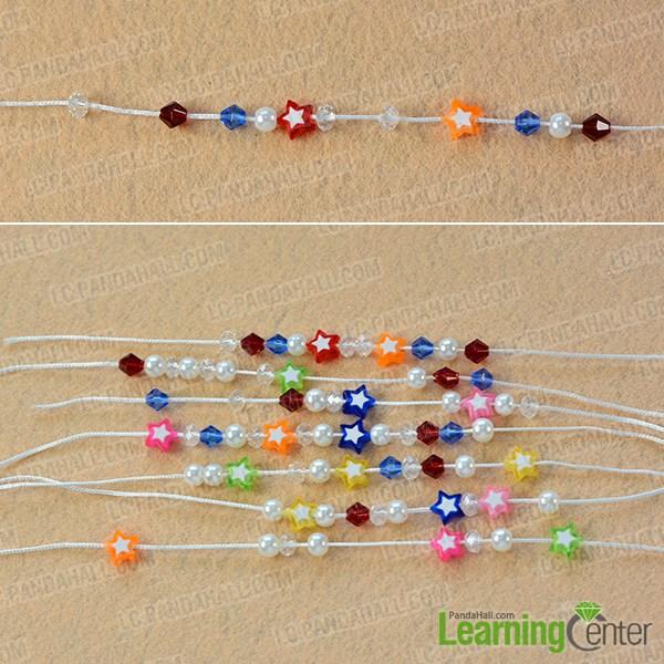 Slide beads to nylon threads