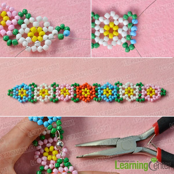 Finish the rest of the flower seed bead bracelet