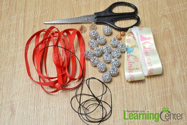 materials and tools for making a Christmas bead bracelet